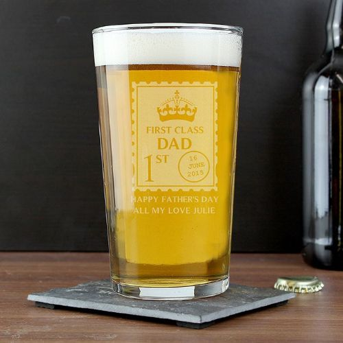 Personalised First Class Pint Glass
